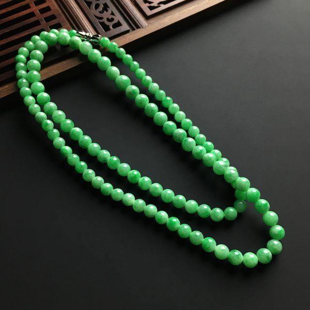 糯冰种带色 天然翡翠佛珠项链 佛珠直径大6.8 小4.2毫米