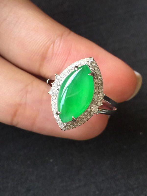 冰种水润起光正阳绿 翡翠戒指