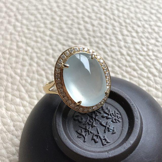 14.2~10.9~5.5寸冰种蛋面翡翠戒指