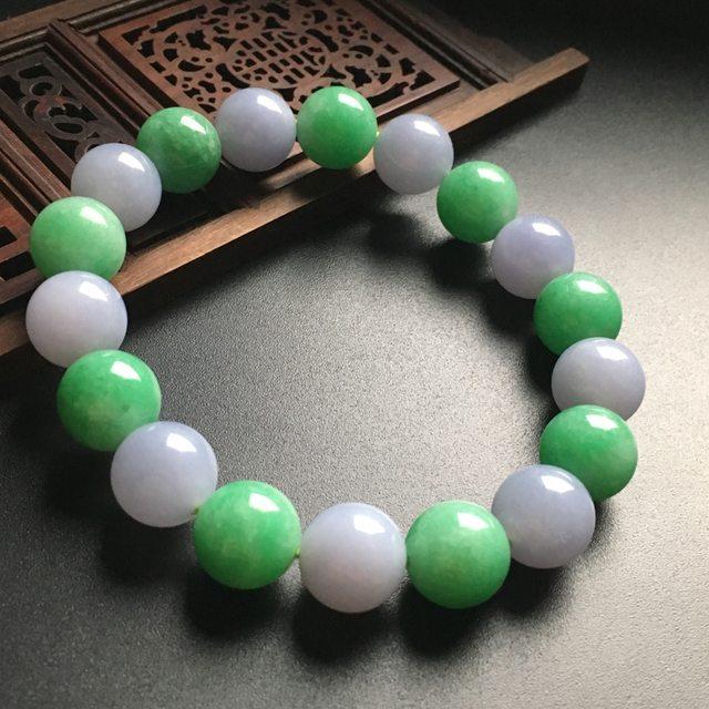 双彩佛珠翡翠手链 直径13mm