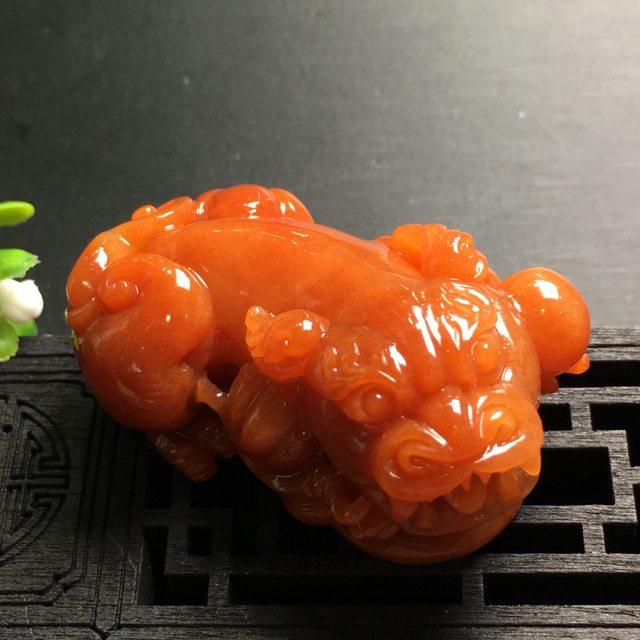 红翡貔貅 翡翠吊坠 尺寸49.3*25.5*26.2mm