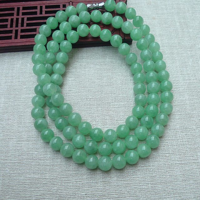 糯冰满绿 7.2mm圆珠翡翠项链