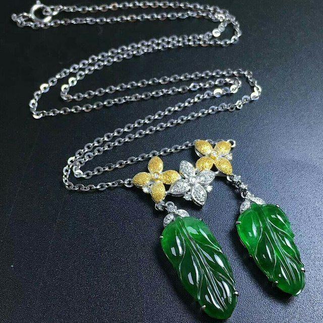 辣绿色树叶锁骨链19.7*9.3*4.3mm