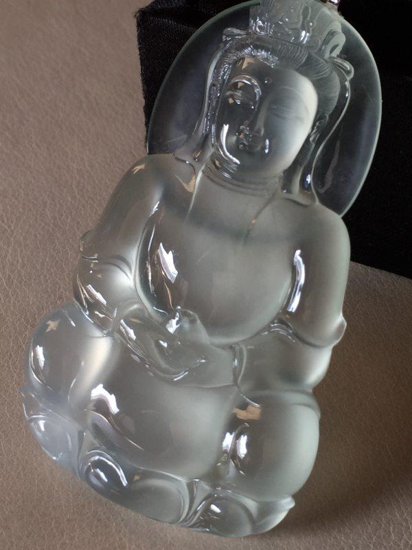 玻璃种观音 翡翠挂件 尺寸70*40.5*7.6