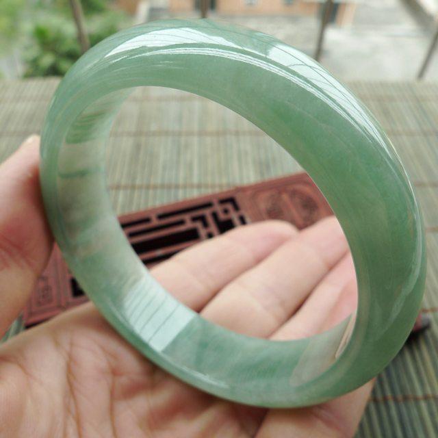 糯冰满绿正装手镯 A货翡翠手镯58.2mm