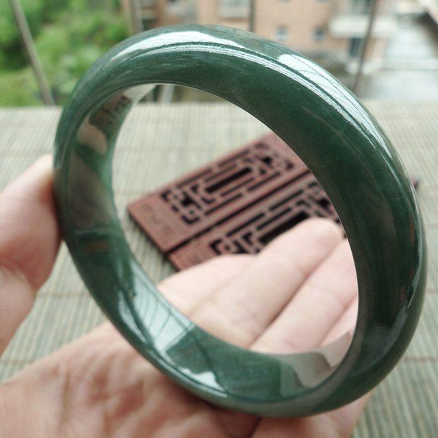 A货翡翠手镯 油青满绿正装手镯59mm