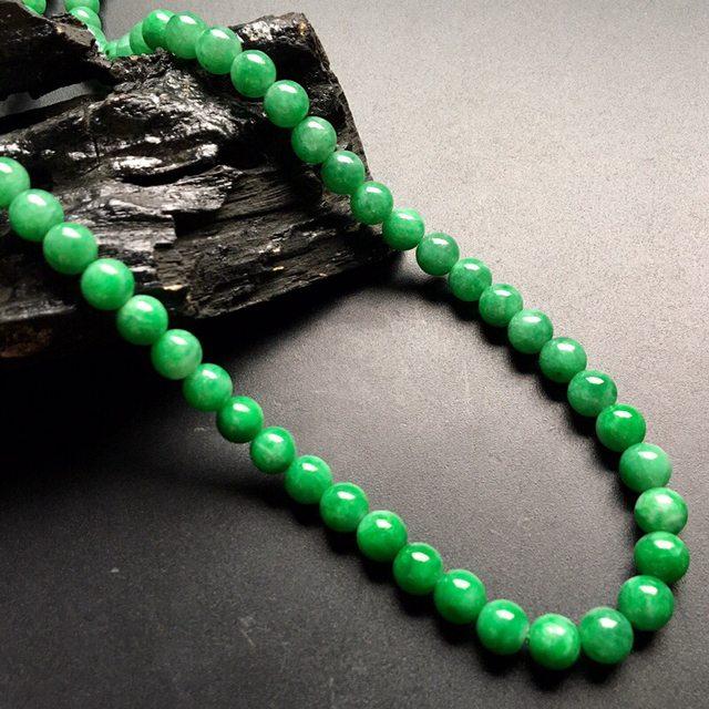 糯冰满绿翡翠转运珠项链