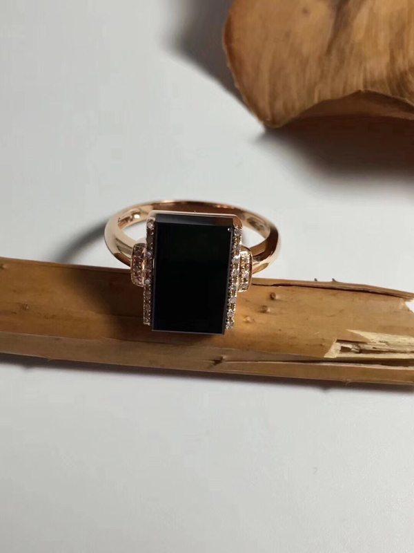 墨翠 缅甸天然翡翠戒指11.9-9.5-4.7mm