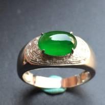 冰种满绿 缅甸天然翡翠戒指
