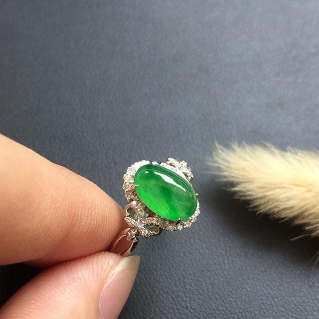 冰种满绿 缅甸天然翡翠戒指 色泽阳绿