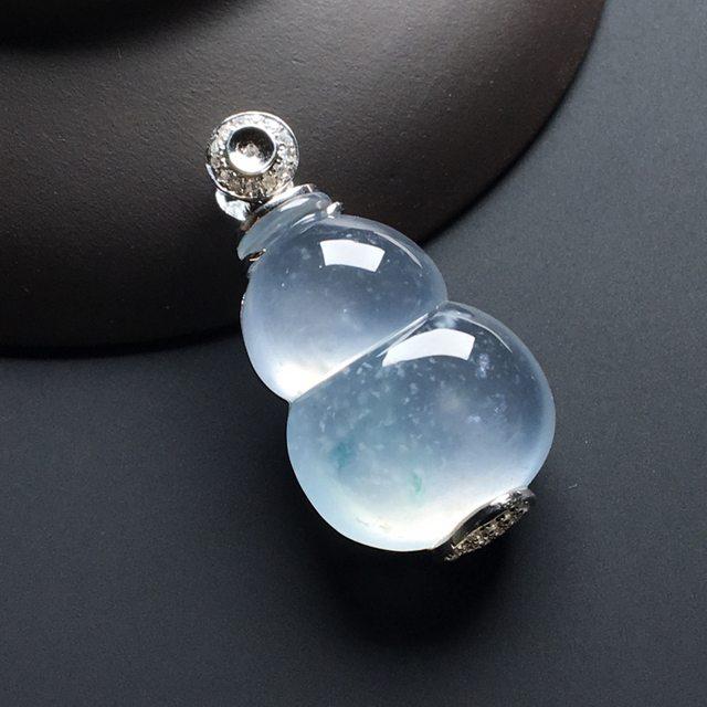 高冰种飘花葫芦 翡翠挂件 尺寸:33-17.6-10mm