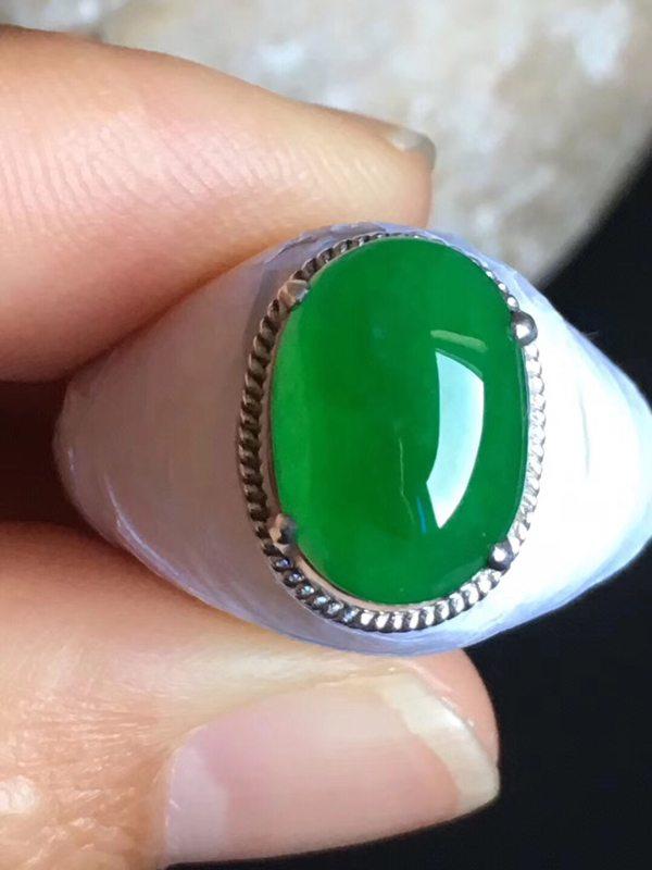 老坑冰种辣阳绿色 翡翠戒指12.8-9.3-4.8mm