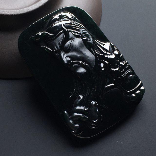 冰种墨翠忠义关公 翡翠挂件 尺寸:54-36-7.7mm