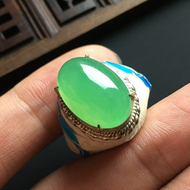 冰种果绿 缅甸天然翡翠戒指