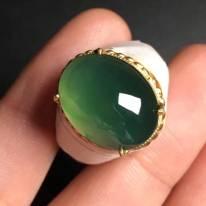 高冰橄榄绿 翡翠戒指16.9-14.5-5.8毫米