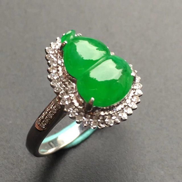 10.8*8.1*3mm冰种阳绿葫芦 缅甸天然翡翠戒指