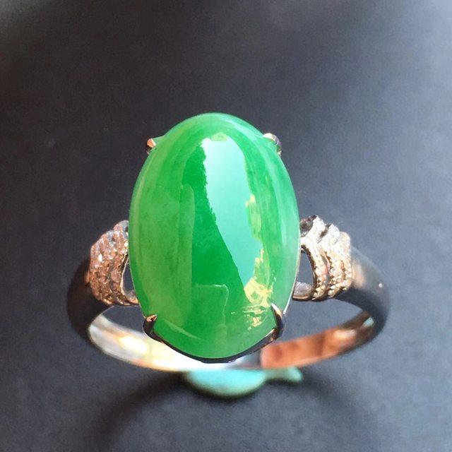 冰种满绿 缅甸天然翡翠戒指 13.8*9.4*8.1mm