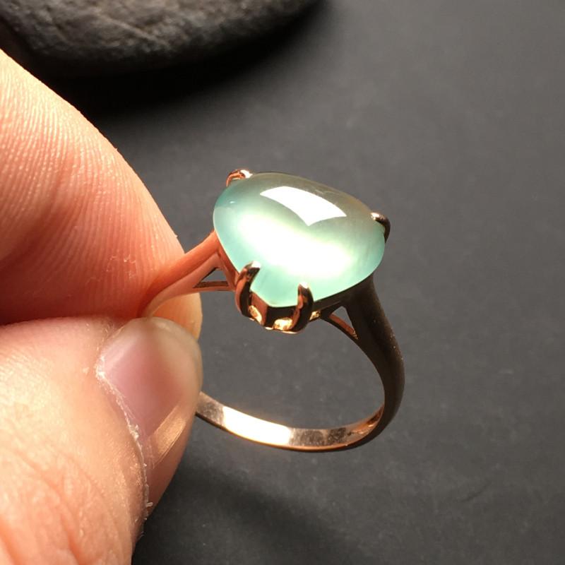冰糯种晴水心形 天然翡翠戒指