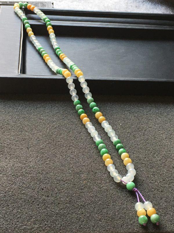 糯种三彩翡翠珠珠项链