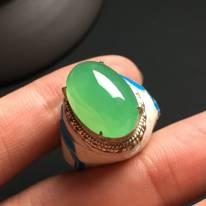17.6-11.6-6.2寸冰苹果绿 缅甸天然翡翠戒指