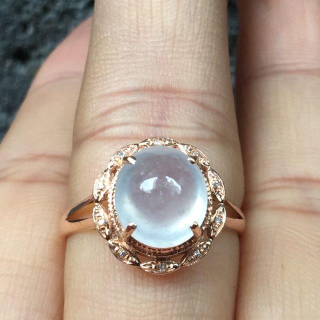 冰种晴水 缅甸天然翡翠戒指 完美冰旦戒指
