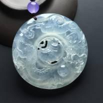 冰种神龙吐珠翡翠吊坠 尺寸53-10