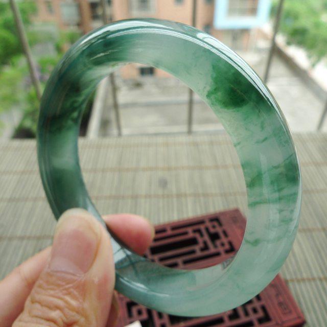 老种冰润飘花正装翡翠手镯 尺寸56.6-12.7-9.3mm