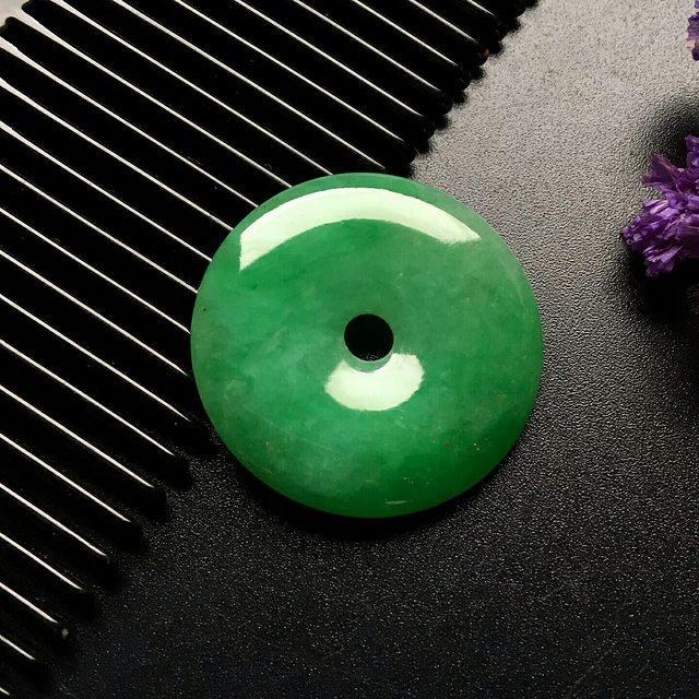冰种满绿翡翠吊坠 翡翠平安扣吊坠  尺寸: 29-5mm