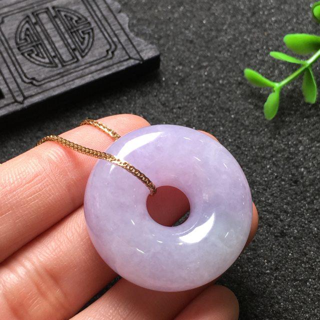紫罗兰平安扣 翡翠挂件 尺寸31.1*11.5mm