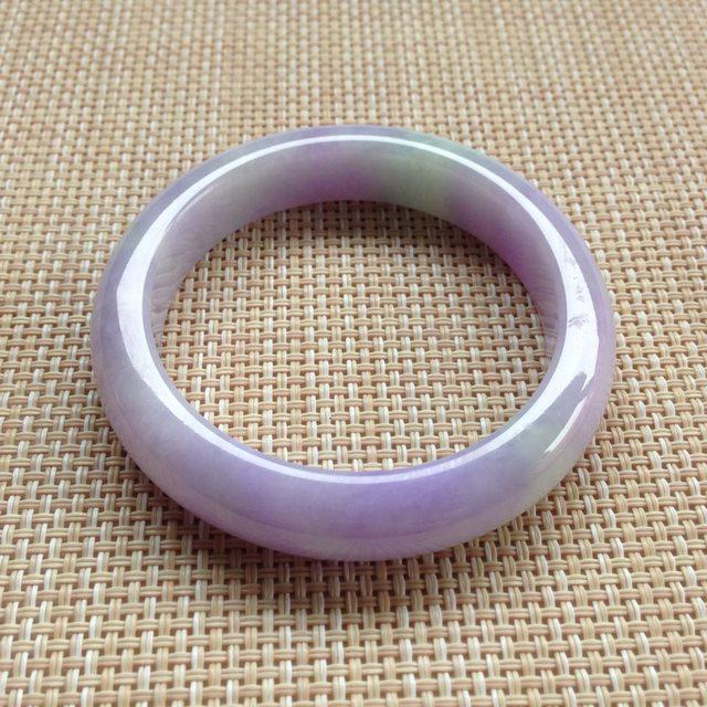 糯冰种紫罗兰翡翠手镯  缅甸天然翡翠手镯
