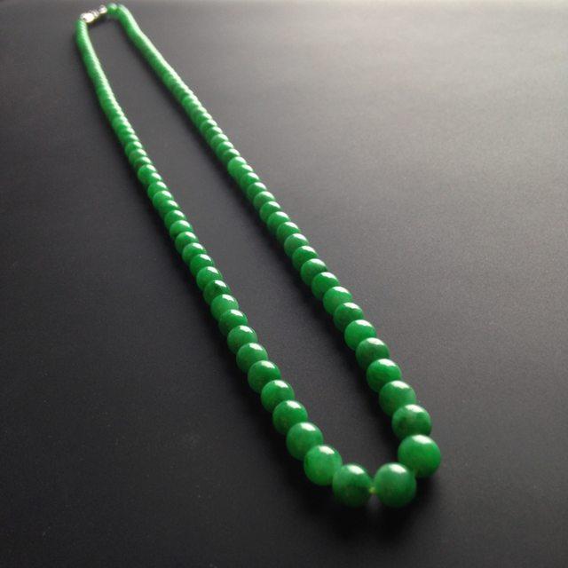 糯冰种阳绿翡翠项链 109颗 单颗尺寸4mm图1