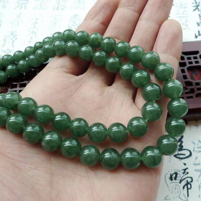 A货翡翠 好种满绿翡翠圆珠项链图10