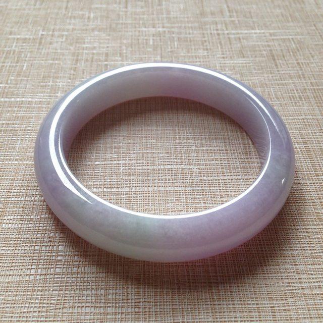 冰糯种紫罗兰翡翠手镯  缅甸天然翡翠手镯  尺寸58×12×8.6mm