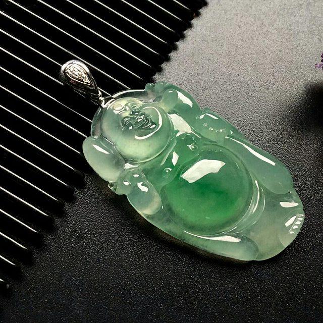 冰种飘绿逍遥佛 佛翡翠吊坠 尺寸: 40-23.5-6.5mm