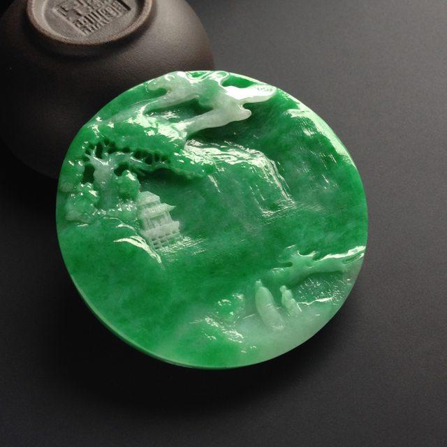 冰种阳绿山水牌翡翠吊坠 尺寸56-8.5毫米