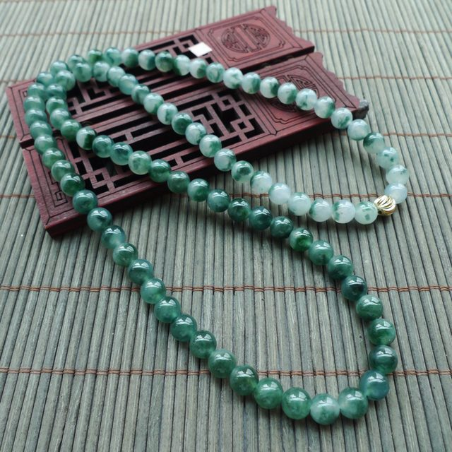 飘花圆珠翡翠项链 珠大取一7.2mm