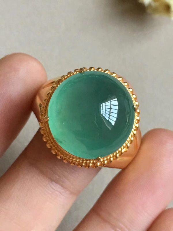 高冰晴绿 缅甸天然翡翠戒指16.8-6.8毫米