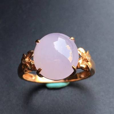 冰种 紫罗兰 缅甸天然翡翠戒指