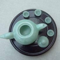 冰种浅绿 鸿运当头翡翠茶壶小摆件
