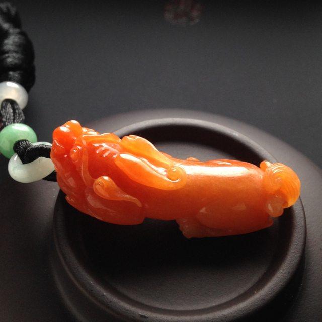 红翡貔貅 翡翠吊坠 尺寸42-16-14毫米