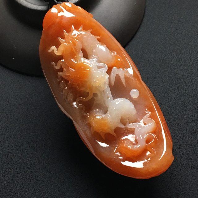 巧雕红翡挂件 尺寸:77-34.8-24毫米