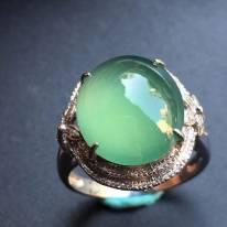冰种蓝水 缅甸天然翡翠戒指大小14*11.6*6mm
