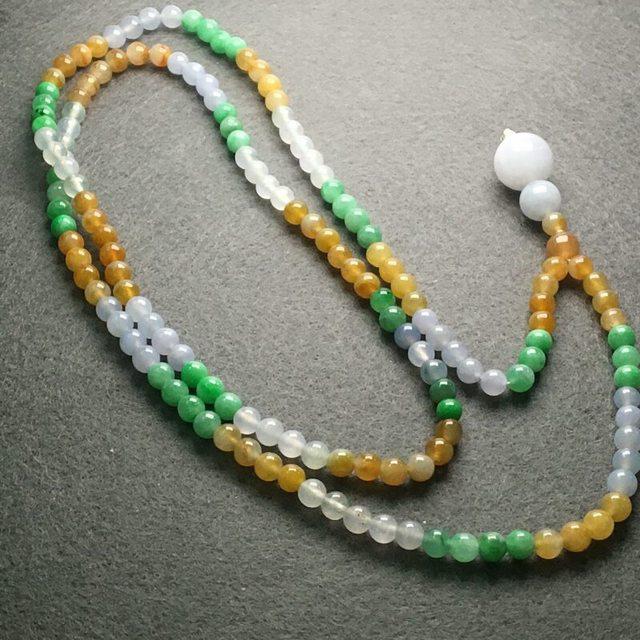 冰地起光三彩翡翠妈妈珠链
