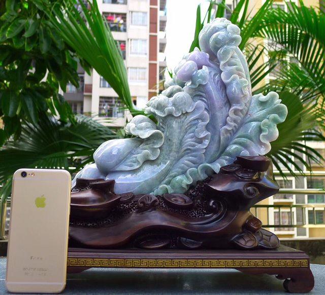 390.350.170寸精美春带彩 大件白菜翡翠摆件图0