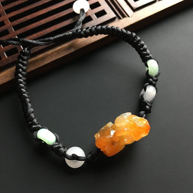 红翡招财貔貅手链 貔貅尺寸19-11-10毫米