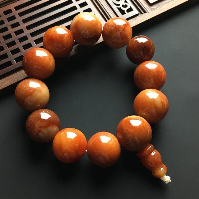 红翡佛珠翡翠手链 直径18毫米