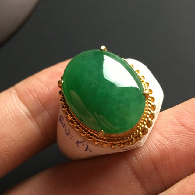 18-14-5寸冰糯种满色 缅甸天然翡翠戒指