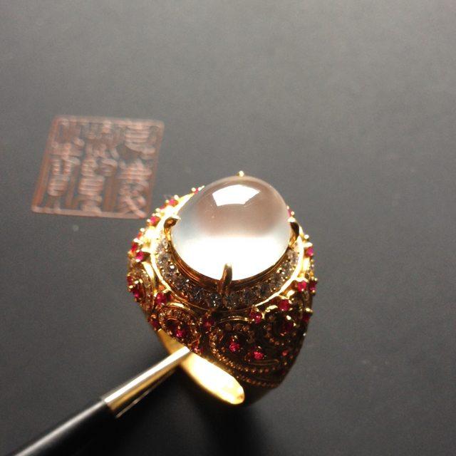 玻璃种晴水 缅甸天然翡翠戒指