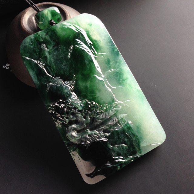 糯冰种带色深山藏古寺 翡翠挂件 尺寸72-43-8mm