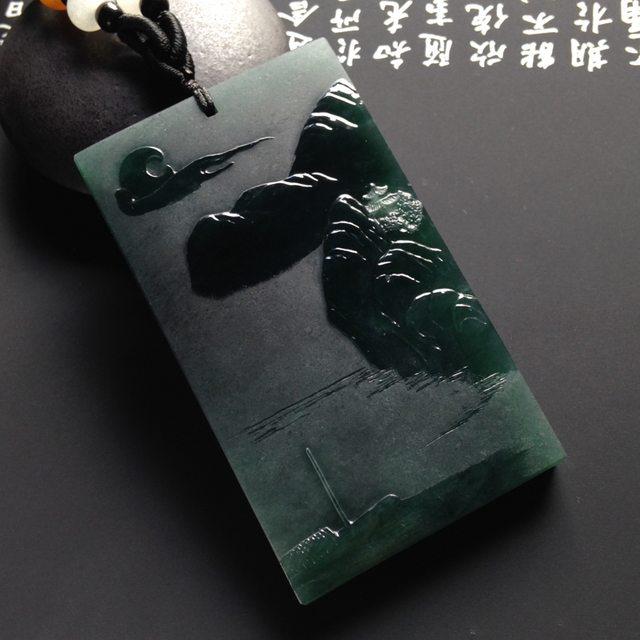 蓝水淡泊人生翡翠挂件  尺寸67-39-7.5毫米